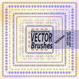 Set of 9 hand drawn decorative vector brushes with inner and outer corner tiles. Dividers, borders, ornaments Stock Photo