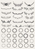 Set of hand drawn decorative wreaths and laurels Stock Photography