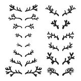 Set of hand drawn deer horns black on the white background, silhouette of antlers vector illustration