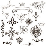 Set of  hand-drawn design elements. Set of doodle hand-drawn design elements.Vector illustration Stock Image