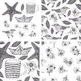 Set of hand-drawn design elements and patterns with camomiles, b royalty free illustration