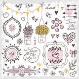 Set of hand drawn design elements for wedding decoration. Decorative frames, flowers, heart, birds, arrows. Royalty Free Stock Photography