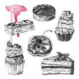 Set of hand drawn desserts Stock Image