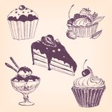 Set of hand drawn desserts Stock Images