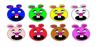 Colored Cartoon Mouse Heads. Set of hand drawn different colored cute cartoon mouse heads.  Useful ideas, such as pattern, logo, icon, clipart, childrens Stock Image