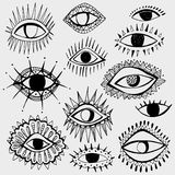 Set of hand drawn different eyes isolated on white background. Stock Photos