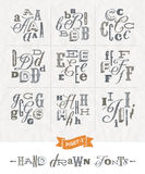 Set of Hand drawn different fonts Royalty Free Stock Photography