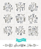 Set of Hand drawn different fonts Stock Images