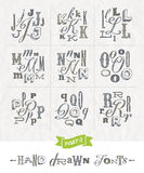 Set of Hand drawn different fonts Stock Photography
