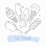 Set of hand drawn different ice cream. Doodle illustration Stock Images