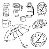 Set of hand drawn different items, doodles. vector illustration
