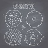 Set of hand drawn donuts  in vector. Sweet Royalty Free Stock Photo