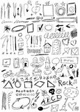 Set hand drawn, doodle, arrow, shapes, Stock Images