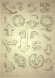 Set Of Hand Drawn Doodle Arrows Royalty Free Stock Images
