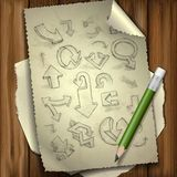 Set Of Hand Drawn Doodle Arrows. Royalty Free Stock Images