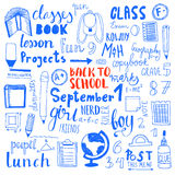 Set of hand drawn doodle back to scool icons Stock Photo