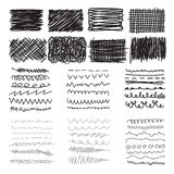 Set of hand drawn doodle banners, strokes and ink texture Royalty Free Stock Images