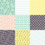 Set with 9 hand drawn doodle brightly colors seamless patterns. Simple texture for background, wallpaper, fabric or a wrapping paper stock illustration