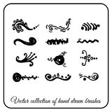 Set of hand drawn Doodle brushes for your design black ink. Decorative Stock Photography