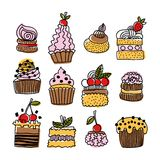 Set of hand drawn doodle cakes, desserts Royalty Free Stock Images