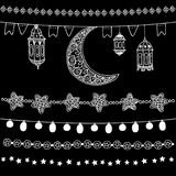 Set of hand drawn doodle chalk garlands, illuminations, with moon, stars, flags and arabic lanterns. Isolated Ramadan. Set of hand drawn doodle chalk garlands Vector Illustration