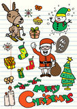 Set of hand-drawn doodle Christmas elements on not Royalty Free Stock Photos
