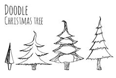 Set of hand-drawn doodle Christmas trees Royalty Free Stock Photo