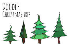 Set of hand-drawn doodle Christmas trees Stock Images
