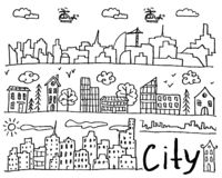Set of hand drawn doodle cities vector illustration
