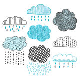 Set of hand drawn doodle clouds Stock Photography