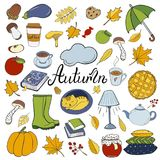 Set of hand drawn doodle elements about autumn. Cozy fall collection of drawings, vector drawing stock illustration