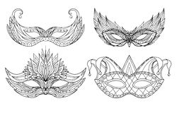 Set of hand-drawn doodle face holiday masks. Festival Mardi Gras, masquerade Stock Photos