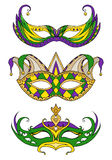 Set of hand-drawn doodle face masks. Festival Mardi Gras Royalty Free Stock Image