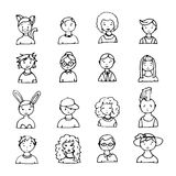 Set of hand drawn doodle faces. Royalty Free Stock Photos