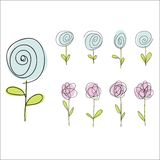 Set of hand drawn doodle flowers Royalty Free Stock Photography