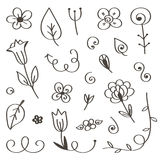 Set of hand-drawn, doodle flowers and leaves isolated on white background Royalty Free Stock Photography