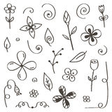 Set of hand-drawn, doodle flowers and leaves isolated on white background Royalty Free Stock Image