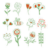 Set of hand drawn doodle flowers, sprigs, branches and berries. Stock Images