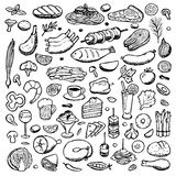 Set hand drawn doodle food and drink elements Royalty Free Stock Photography