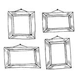 Set of hand drawn doodle frames. Royalty Free Stock Images