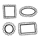 Set of hand drawn doodle frames. Stock Photo