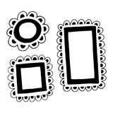 Set of hand drawn doodle frames. Royalty Free Stock Image