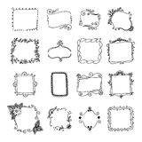 Set of hand drawn doodle frames. Stock Images