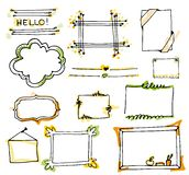 Set of hand drawn doodle frames,paper notes in vector. Cartoon s vector illustration