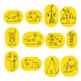 Set of hand drawn doodle house. Stock Images