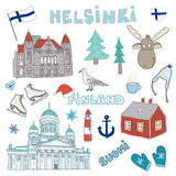Set of hand drawn doodle icons of Helsinki, Finland. Vector illustration Royalty Free Stock Image