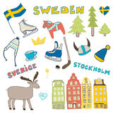 Set of hand drawn doodle icons of Sweden. Vector illustration Royalty Free Stock Photography