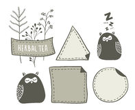 Set of hand drawn doodle labels with funny sleeping birds and cute plants for herbal tea. Royalty Free Stock Photo