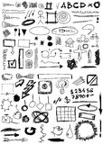 Doodle, numbers, shapes, circle, square, line Royalty Free Stock Image