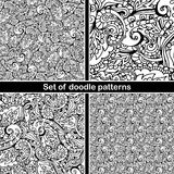Set of hand drawn doodle pattern in vector. Zentangle background. Seamless abstract texture. Ethnic doodle design with henna ornam Stock Image